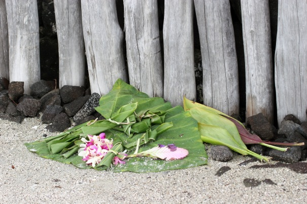 An offering left at the Place of Refuge, Hawaii Island -- the person who left it may see gratitude and honor as tools that enhance his life.