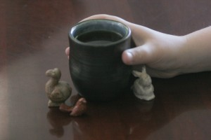 This handmade Japanese tea cup was a gift from the Shumei International Institute in Crestone, Colorado.