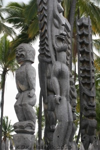Tikis of Hawaiian warriors, Place of Refuge, Hawaii Island