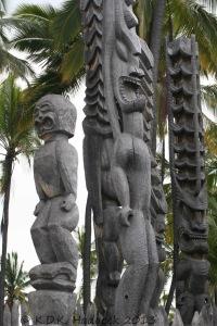 Tikis of Hawaiian warriors, Place of Refuge, Hawaii Island