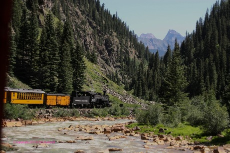 A train, roaring down the tracks, near Silverton, Colorado.