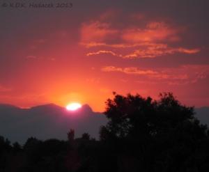 Sunset, mountains