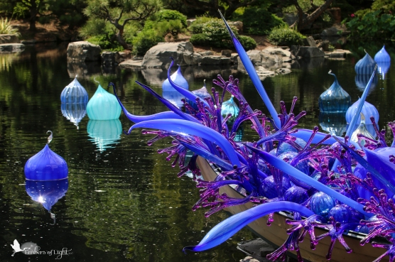 pagoda, Chihuly glass sculpture, Denver Botanical Garden