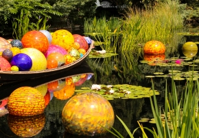 One of the central pieces in the Chihuly exhibit at the Denver Botanic Gardens
