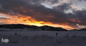 Sunset over Colorado mountains