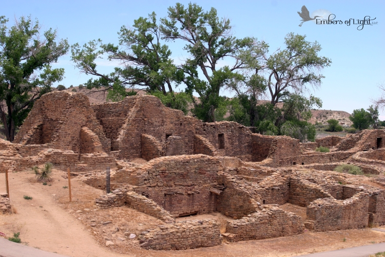 low stone walls mark the remains of the Aztec village