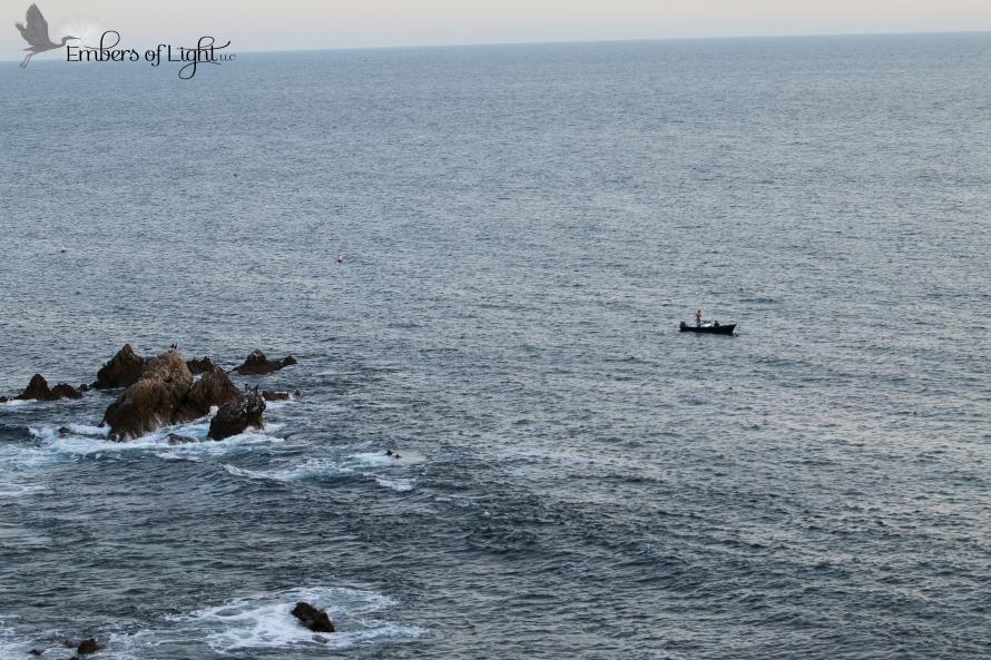 skiff on the sea