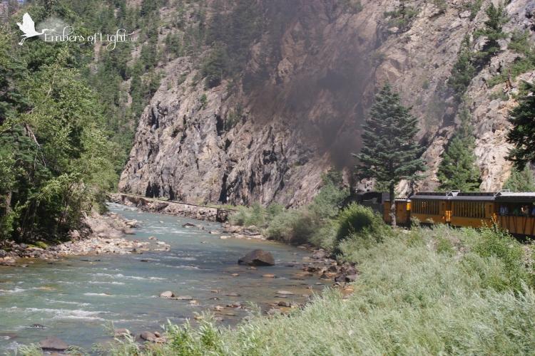 narrow-gauge train; silverton to durango, animas river