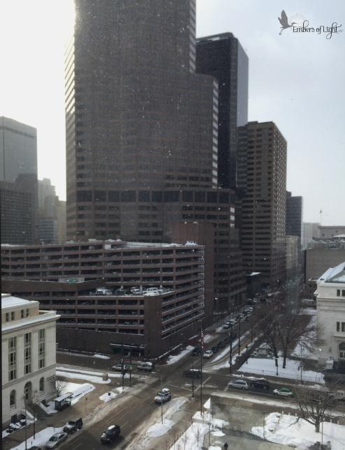 cold city, office buildings, snowy urban landscape