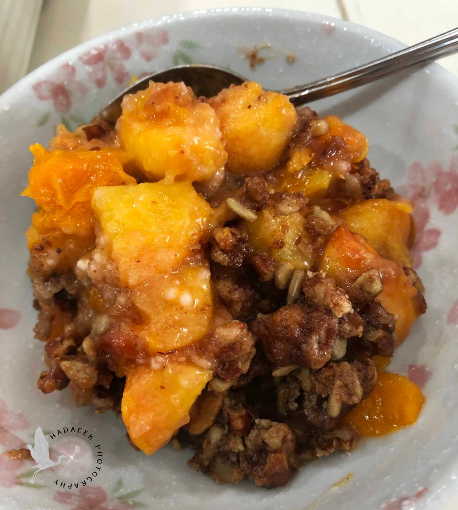 Bright peaches with a cinnaon-nutty topping sit in a gray bowl with pink flowers.