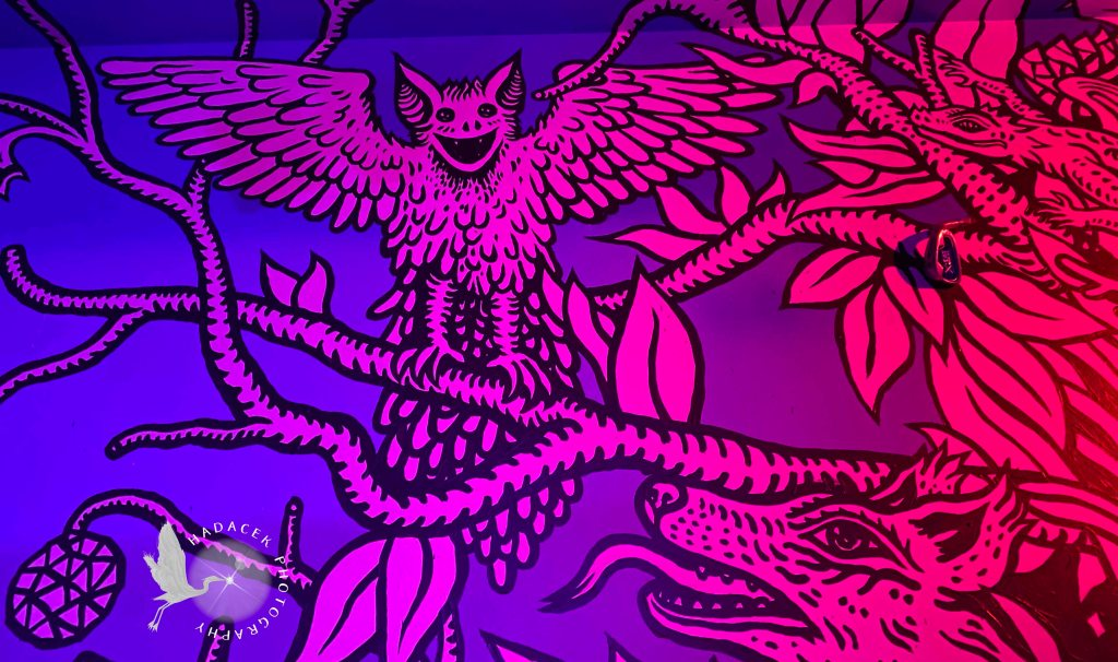 Artwork showing bright monochromatic figures on a dark background - a bit like a black-light poster. The main feature is a bird with large ears with wings spread. Below, a wolf eyes him, tongue out, scheming for a meal.